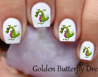 Dragon nail decals etsy 1139 puff the magic dragon water slide nail art decals enough for 2 manicures prinsesfo Image collections