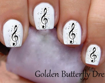 1152 Music Note Water Slide Nail Art Decals Enough For 2 Manicures