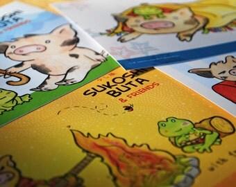 """Cute Little Pig Japanese Kawaii Style Piggy Postcards ** Set of FOUR ** 5"""" x 7"""""""