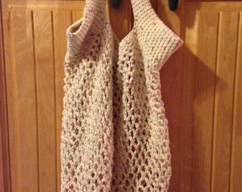 Tan Crocheted Mesh Grocery Tote
