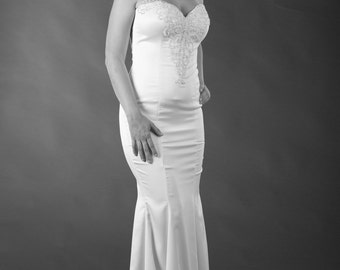 SALE!!! Wedding dress, Neck with lace, Lace wedding dress,  Bridal gowns, Bridal dress.