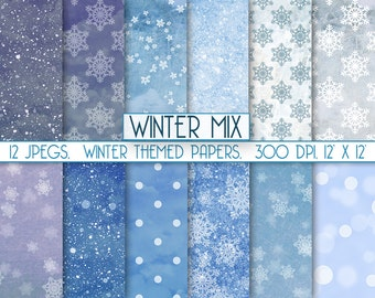 """Winter digital paper: """"Frozen paper"""" icy snowflakes and frost themed, perfect for scrapbooking, item c119"""