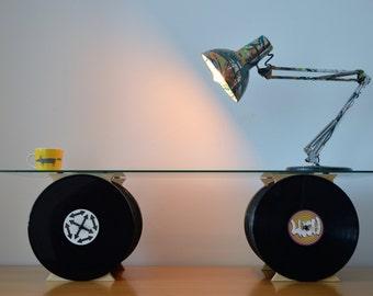 Coffee Table, Designer, Retro Furniture, Minimal, Glass Table, Original Design,Vinyl