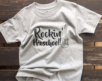 Rockin' Preschool with Guitar kids shirt