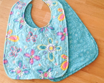 quilted baby bib - turquoise butterfly print