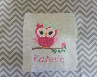 Owl on a Branch Applique Shirt