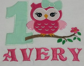 Custom Owl birthday applique shirt