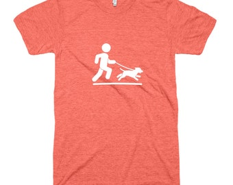Man Running With Dog Tri-Blend T-Shirt