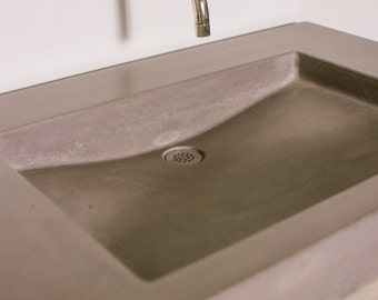 Hensley Concrete Vanity Sink Bathroom Ramp Sloped Custom