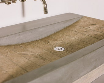 Quarry Concrete And Travertine Stone Vanity Sink Bathroom Ramp Sloped Custom