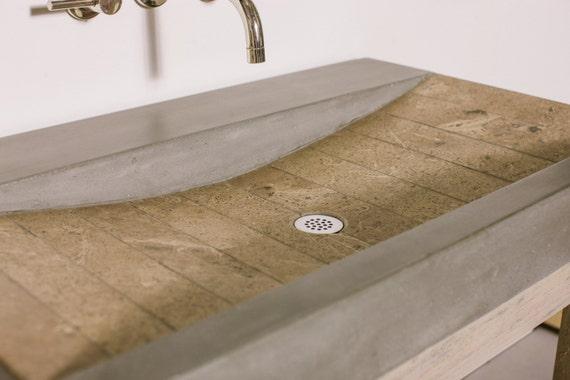 Quarry Concrete And Travertine Stone Vanity Sink Bathroom Ramp