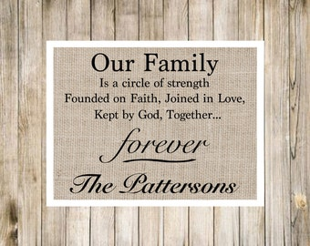 Family Picture Quote Burlap Poster Saying 12x16