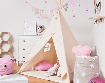 Teepee set with floor mat - Natural Pink