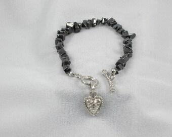 Hematite chip beaded bracelet