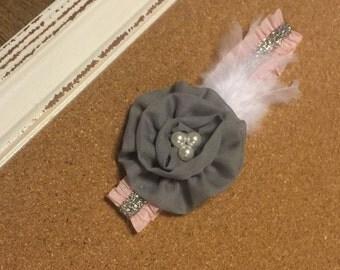 Gorgeous Princess headband. Pink/Gray/White. Custom made.