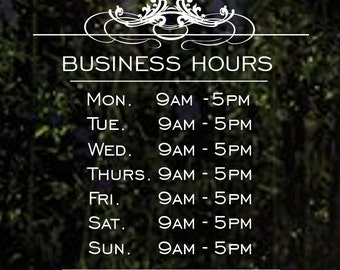 Store Hours Decal Business Hours Decals Hours Of Operation - Window decals for business hours
