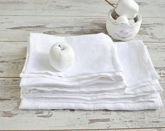 Linen Bath towel set - Pure White thick linen towels - Linen bath and hand/face towels - Rustic linen towels - Washed bath linen towels