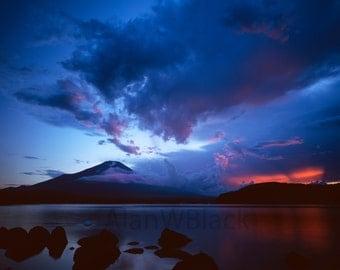 Mount Fuji print, Fuji, Japanese print, Japan, Asian landscape, Fuji sunset, fine art print, Japanese photography, watercolour print