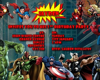 Superheroes - Personalised Children's Party Invitations - 5 Different Designs