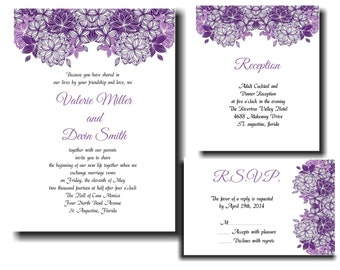 25 Purple Flowers Wedding invitations RSVP and Reception cards