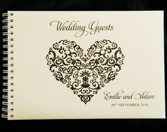 Wedding Guest Book Filigree Heart