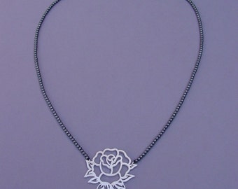 Tattoo Necklace Rose Black&Silver, Sterling Silver, Hematite