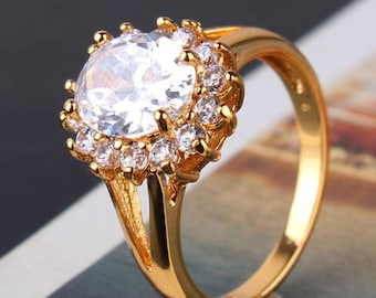 Yellow Gold ladies ring with white crystals 24 K Gold GP