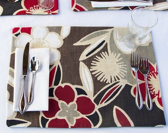 CLEARANCE SALE,  Last Set of Two Floral Placemats, Placemats with Red Flowers Against Taupe and Brown Background