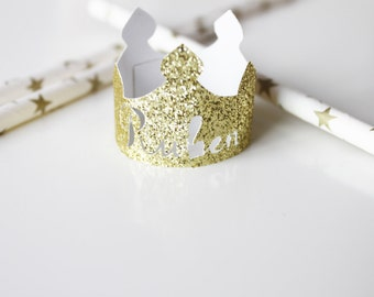 10 mini glitter gold crowns custom the first name of your child