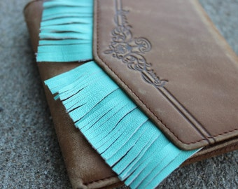 Turquoise Fringe Wallet// the Crafting Wizards