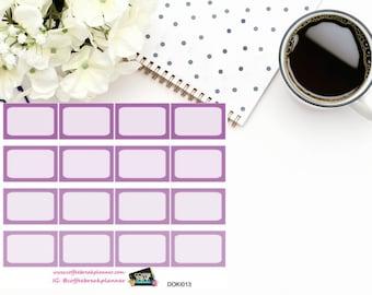 Purple 1/3 boxes for Doki Discagenda| Planner Stickers| Dokibook Discagenda| Personal Planner| DOKI013