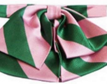 Alpha Kappa Alpha Sorority Pink Green Stripe Floppy Bow Tie LB-3