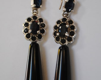 Jet, sapphire and silver drop earrings