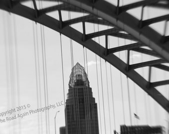Urban Photography, Cincinnati, Architectural Photography, Great America Tower, Big Mac Bridge, Black & White City