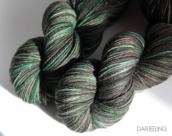 Black Watch on Darjeeling sock, superwash merino/nylon, knotty, ooak, 2 skeins of 100gms
