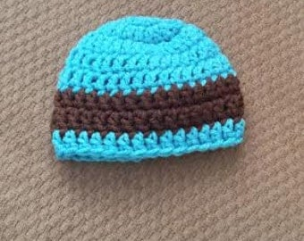 Ready to Ship Brown and Blue Preemie Hat