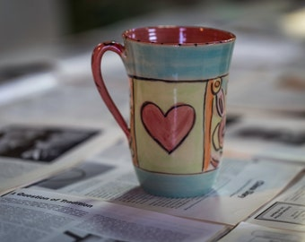 Huge mugs, large mugs, colorful mugs, unique mugs, handmade mugs, heart mugs, gift, colorful hand made,pottery mugs,drinkware,large mugs