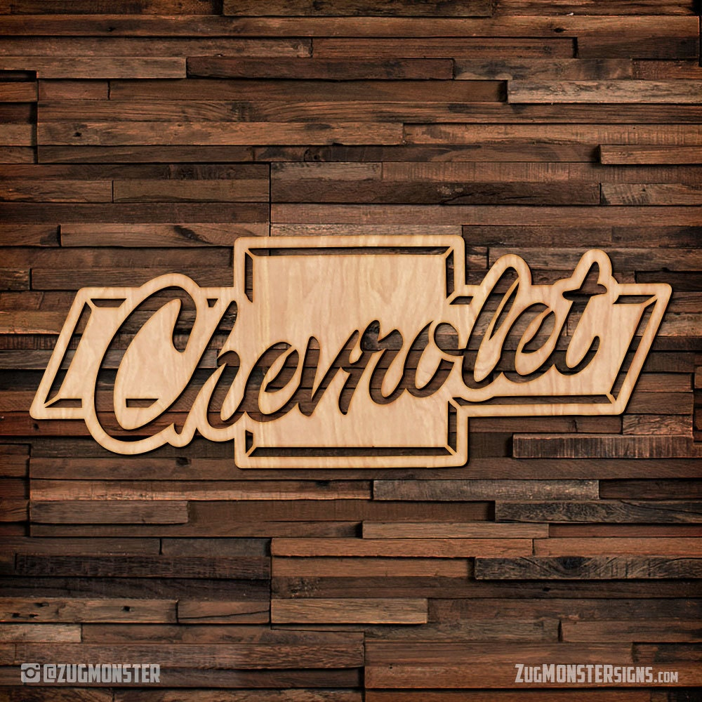 Chevy Logo Wood Hanging Wall Art Sign