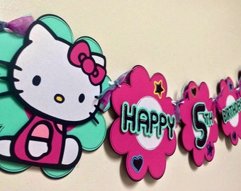 Hello Kitty Inspired Birthday and Name banner