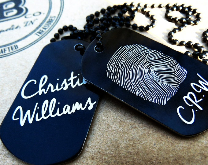 Fingerprint Signature Dog Tag Anodized Aluminum, key chain, Fingerprint Jewelry, thumbprint necklace, Hand crafted fingerprint gifts, ID