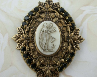 Antique Brass Glass Cameo Brooch