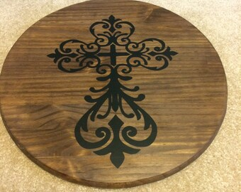 Ornate Cross Lazy Susan or Tray