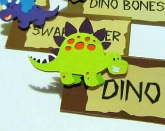 Dinosaur Place Cards, Dinosaur Food Labels, Dinosaur Birthday Decorations, Dinosaur First Birthday, Dinosaur Baby Shower, Dinosaur Party