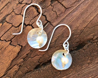 Pearl and mother of pearl earrings