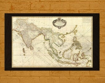 Printed on textured bamboo Art paper - Old Map Southeast Asia 1771 Ancient Old Map Print Antique Map Asia Antique Posters Old  Map