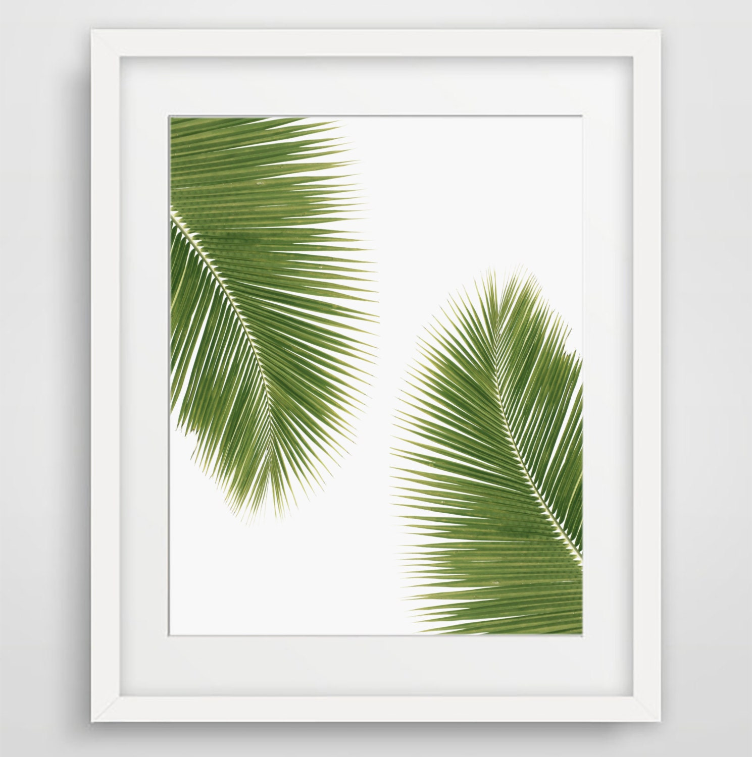 palm tree wall art tropical art green decor palm leaf. Black Bedroom Furniture Sets. Home Design Ideas