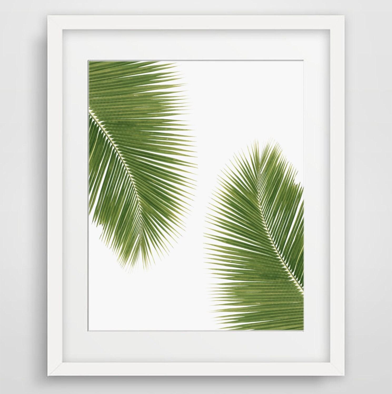 palm tree wall art tropical art green decor palm leaf. Black Bedroom Furniture Sets. Home Design Ideas