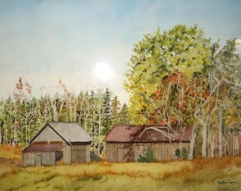 Barn Landscape Watercolor Painting