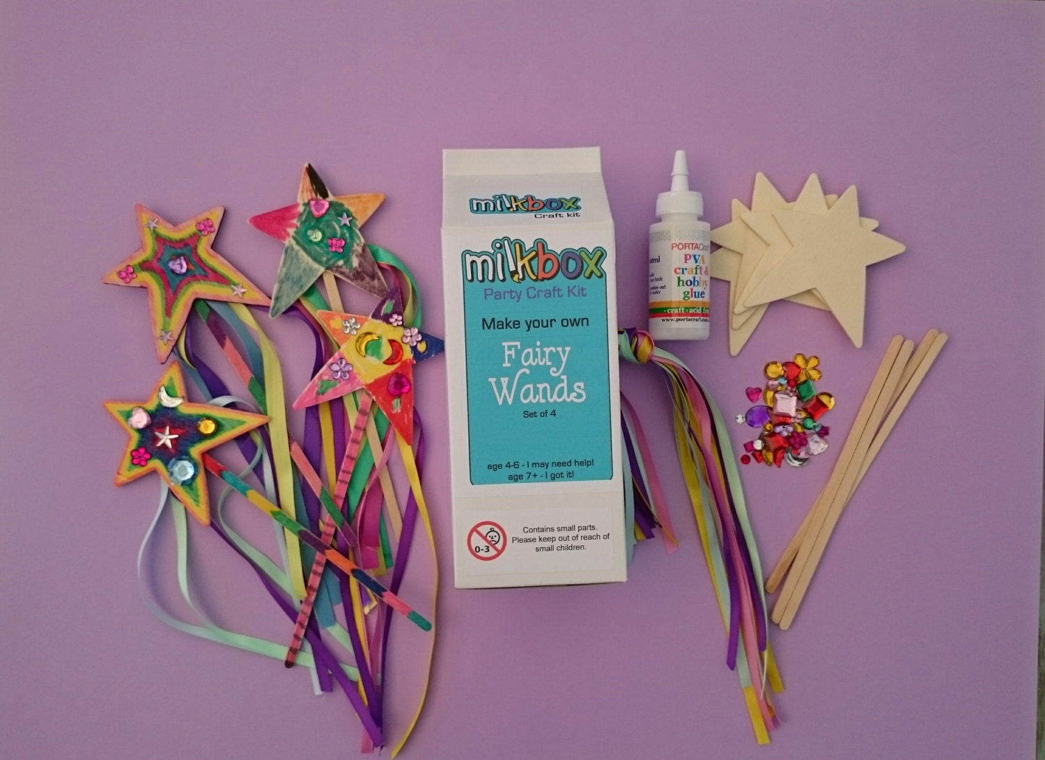Kids craft kit fairy wands make four fun fairy wands for Wand making kit