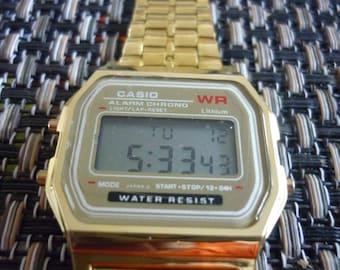 Casio gold digital 1980s watch worldwide service 2016 SALE